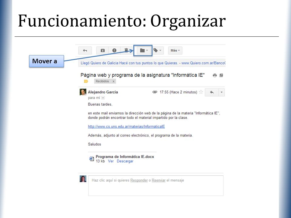 Funcionamiento: Organizar