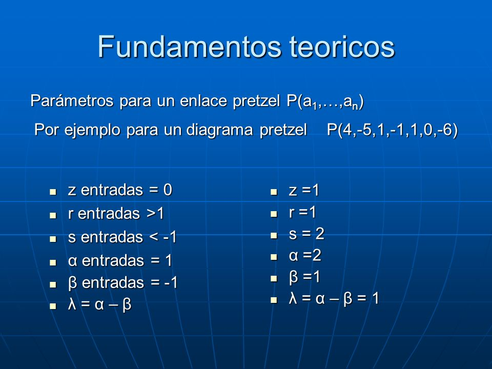 Fundamentos teoricos Parámetros para un enlace pretzel P(a1,…,an)