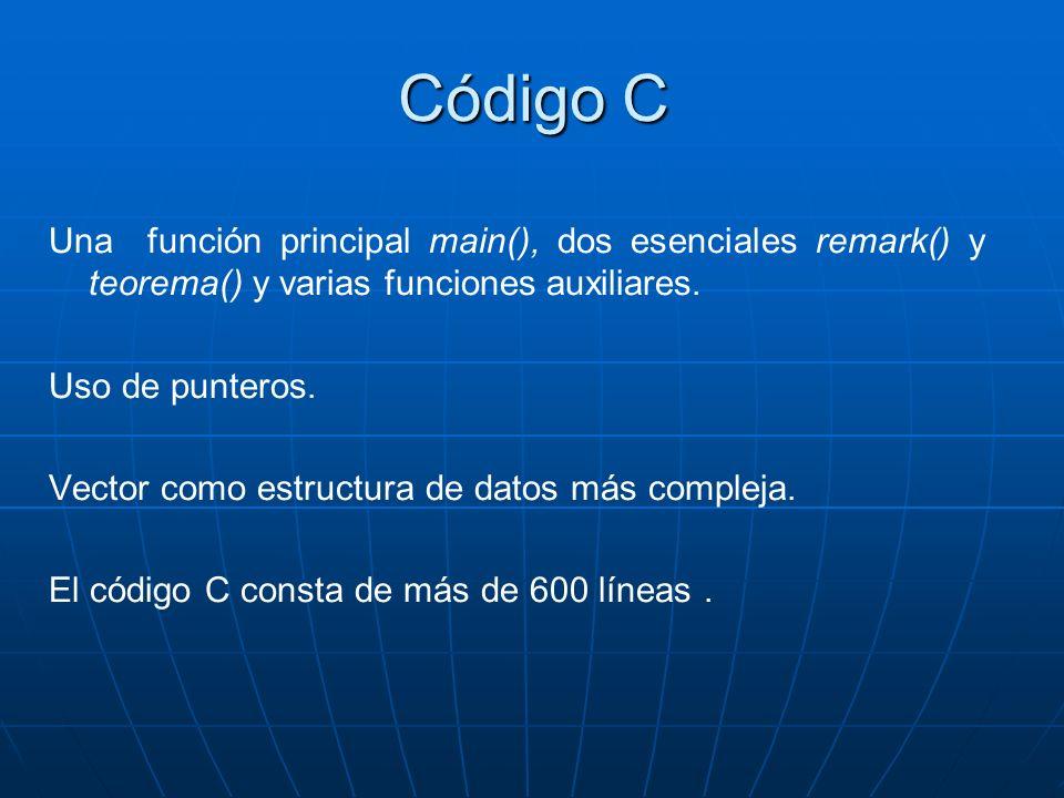 Código C Una función principal main(), dos esenciales remark() y teorema() y varias funciones auxiliares.