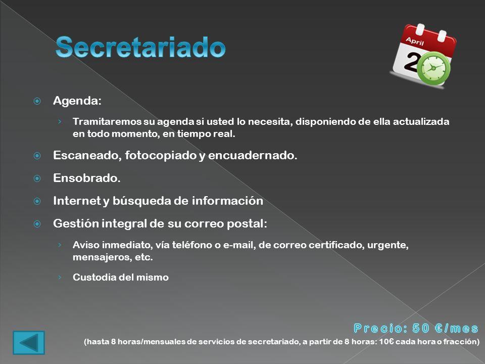 Secretariado Agenda: Escaneado, fotocopiado y encuadernado. Ensobrado.