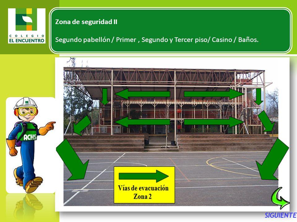 Zona de seguridad II Segundo pabellón / Primer , Segundo y Tercer piso/ Casino / Baños.