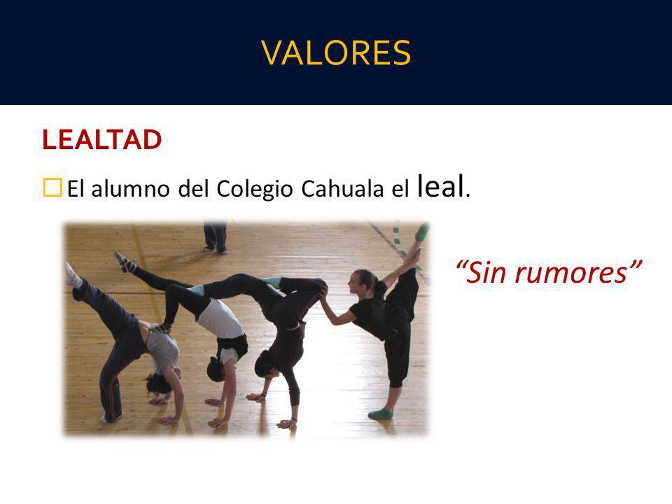VALORES LEALTAD El alumno del Colegio Cahuala el leal. Sin rumores