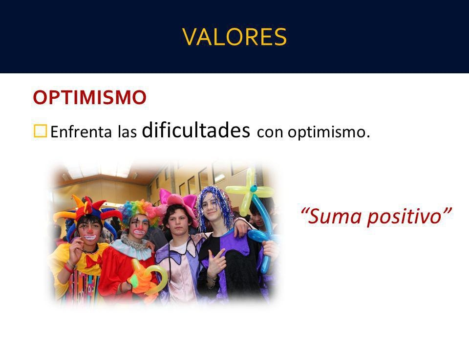 VALORES Suma positivo OPTIMISMO