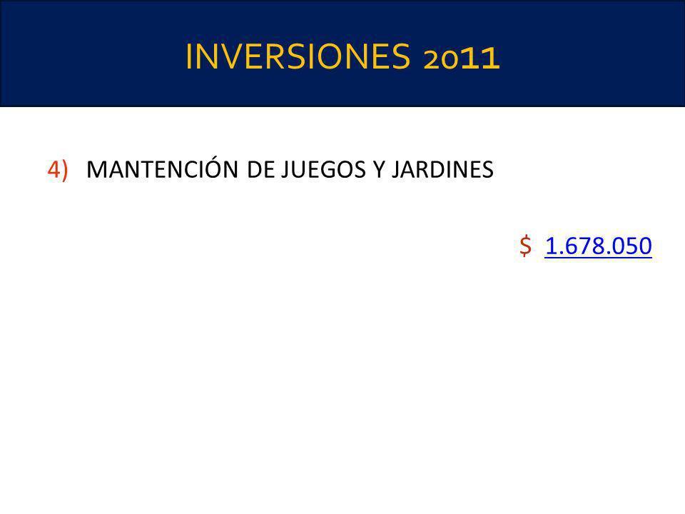 INVERSIONES 2011 MANTENCIÓN DE JUEGOS Y JARDINES $ 1.678.050