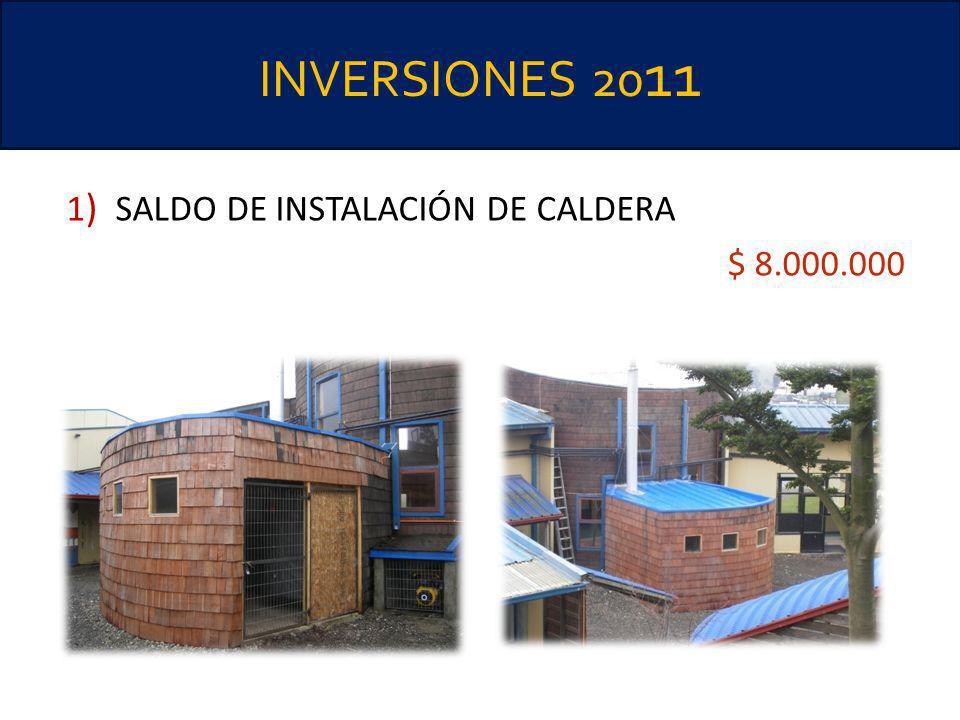 INVERSIONES 2011 1) SALDO DE INSTALACIÓN DE CALDERA $ 8.000.000