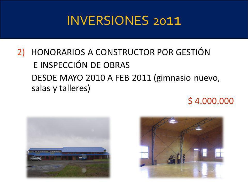 INVERSIONES 2011 HONORARIOS A CONSTRUCTOR POR GESTIÓN