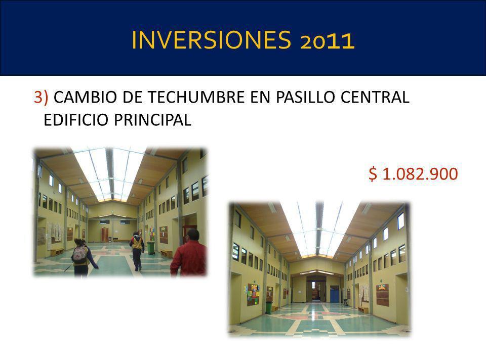 INVERSIONES 2011 3) CAMBIO DE TECHUMBRE EN PASILLO CENTRAL EDIFICIO PRINCIPAL $ 1.082.900