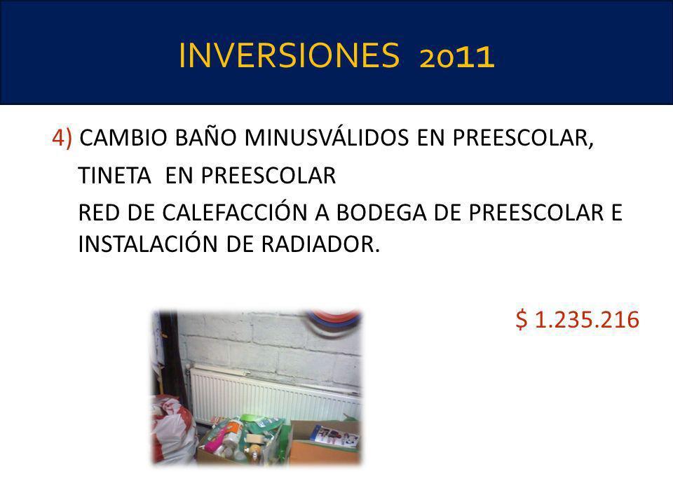 INVERSIONES 2011 4) CAMBIO BAÑO MINUSVÁLIDOS EN PREESCOLAR,