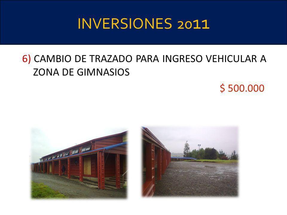 INVERSIONES 2011 6) CAMBIO DE TRAZADO PARA INGRESO VEHICULAR A ZONA DE GIMNASIOS $ 500.000