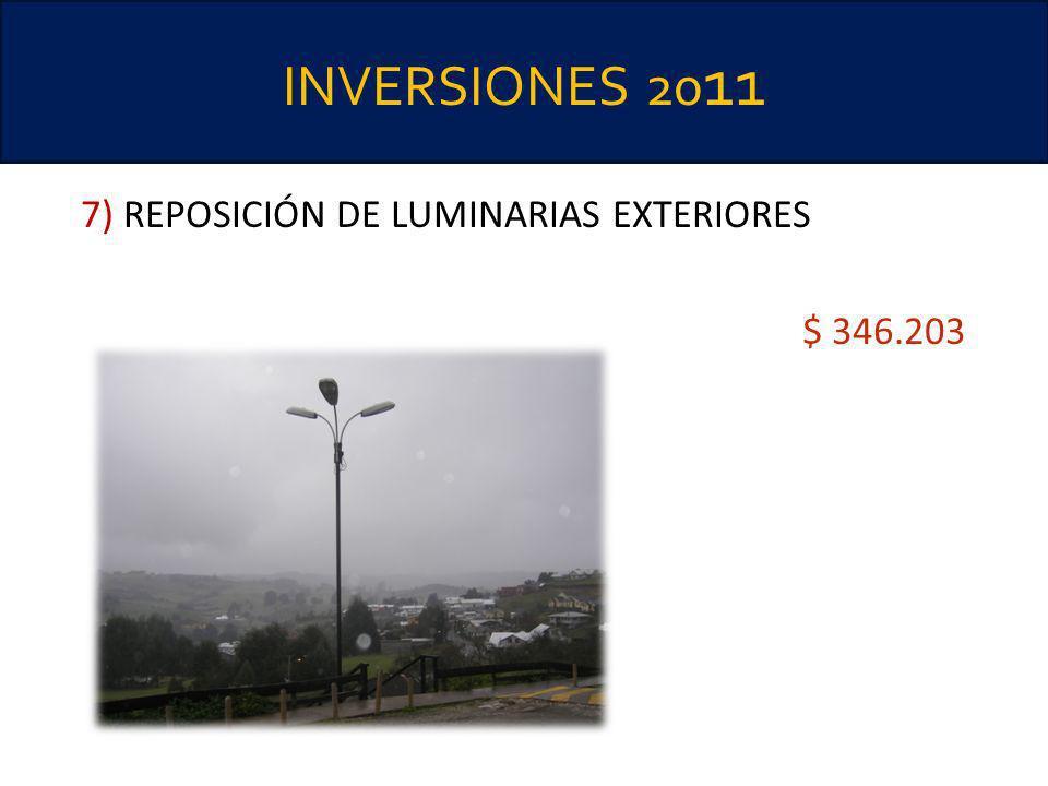 INVERSIONES 2011 7) REPOSICIÓN DE LUMINARIAS EXTERIORES $ 346.203