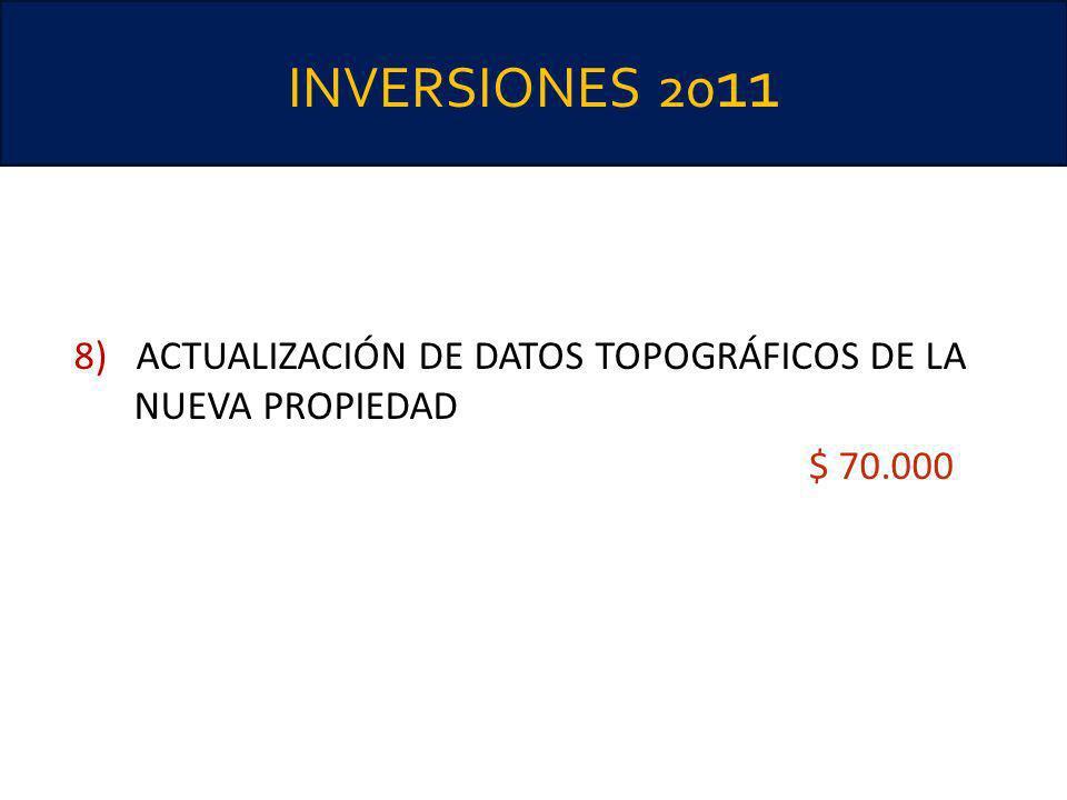 INVERSIONES 2011 8) ACTUALIZACIÓN DE DATOS TOPOGRÁFICOS DE LA NUEVA PROPIEDAD $ 70.000