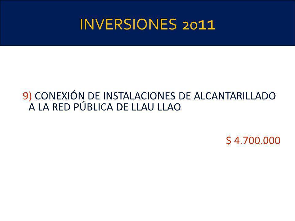 INVERSIONES 2011 9) CONEXIÓN DE INSTALACIONES DE ALCANTARILLADO A LA RED PÚBLICA DE LLAU LLAO.