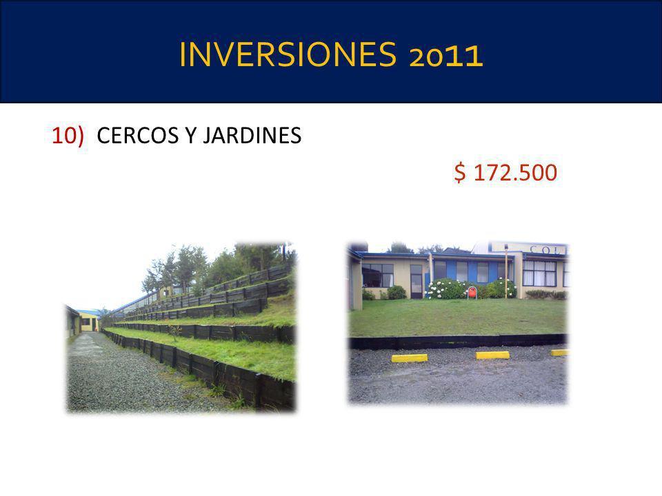 INVERSIONES 2011 10) CERCOS Y JARDINES $ 172.500