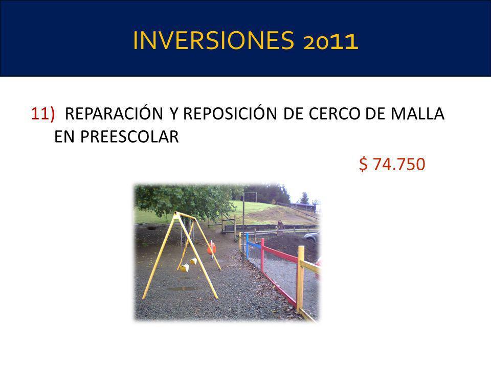 INVERSIONES 2011 11) REPARACIÓN Y REPOSICIÓN DE CERCO DE MALLA EN PREESCOLAR $ 74.750