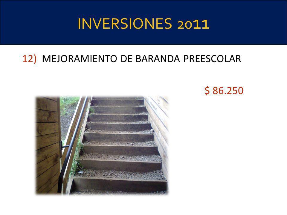 INVERSIONES 2011 12) MEJORAMIENTO DE BARANDA PREESCOLAR $ 86.250