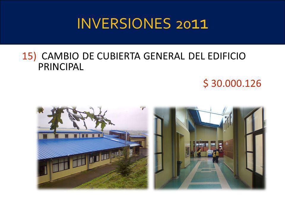 INVERSIONES 2011 15) CAMBIO DE CUBIERTA GENERAL DEL EDIFICIO PRINCIPAL