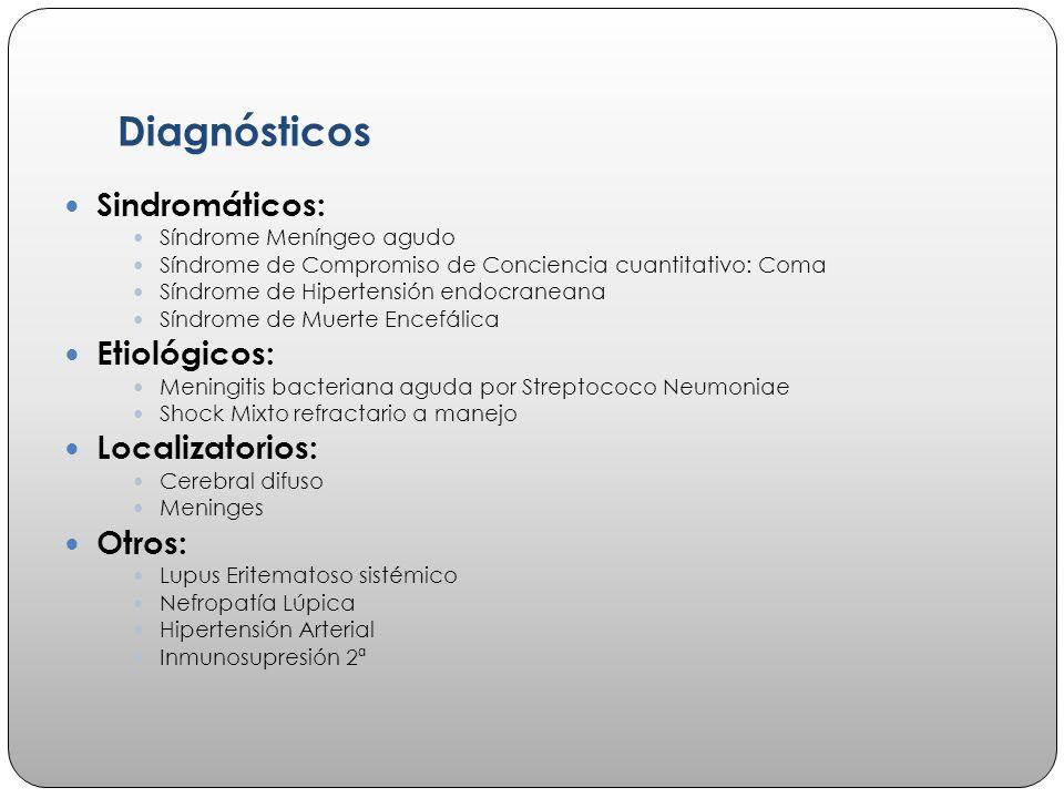 Diagnósticos Sindromáticos: Etiológicos: Localizatorios: Otros: