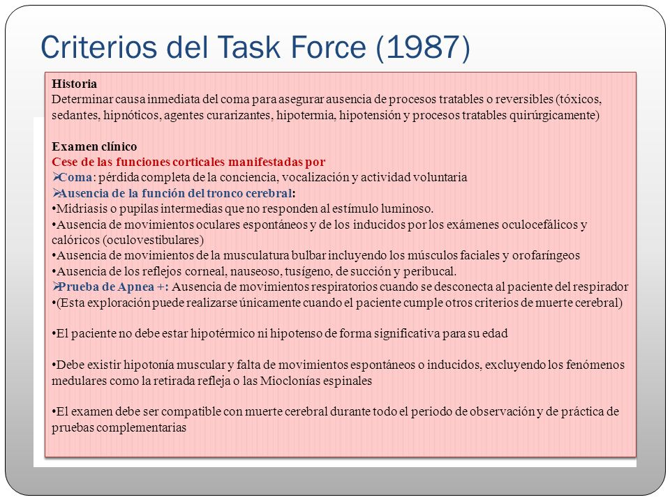 Criterios del Task Force (1987)