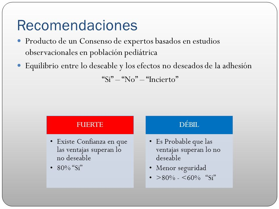 Recomendaciones Producto de un Consenso de expertos basados en estudios observacionales en población pediátrica.