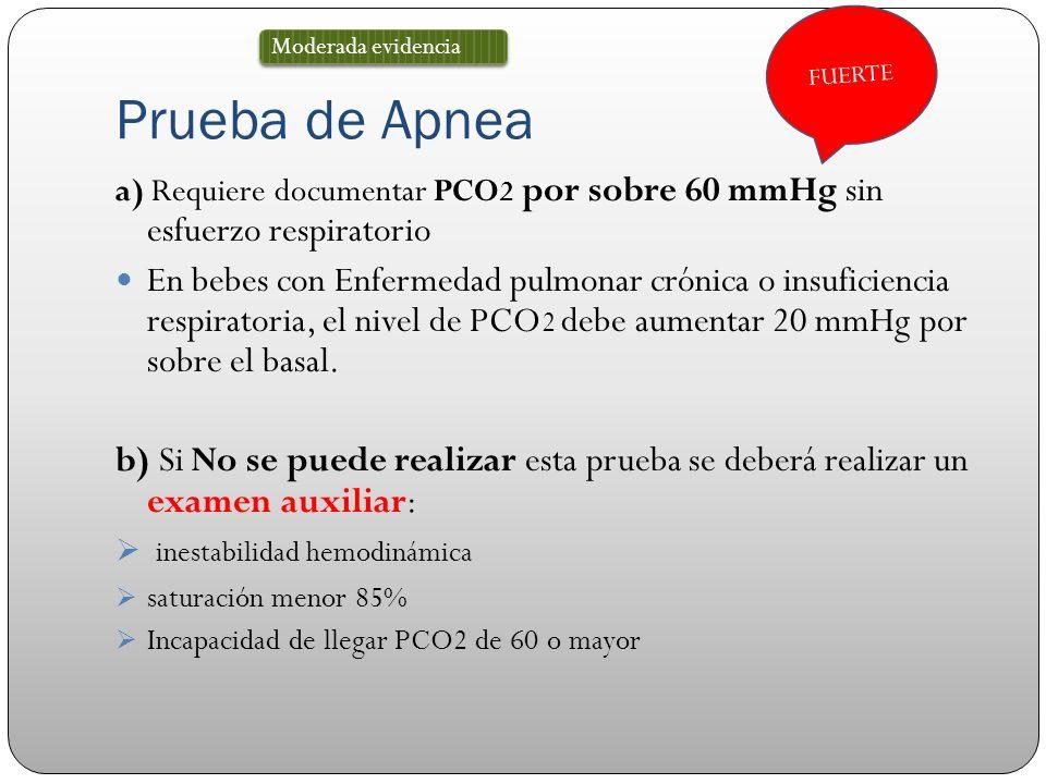 FUERTE Prueba de Apnea. Moderada evidencia. a) Requiere documentar PCO2 por sobre 60 mmHg sin esfuerzo respiratorio.