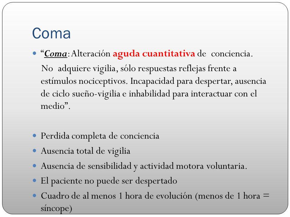 Coma Coma: Alteración aguda cuantitativa de conciencia.