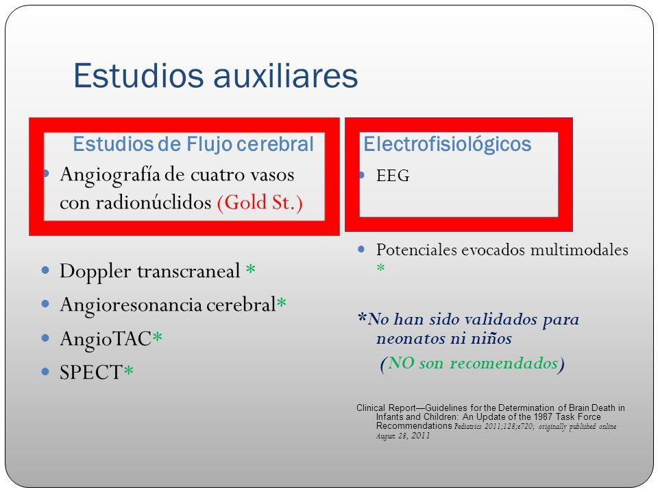 Estudios auxiliares Estudios de Flujo cerebral. Electrofisiológicos. Angiografía de cuatro vasos con radionúclidos (Gold St.)