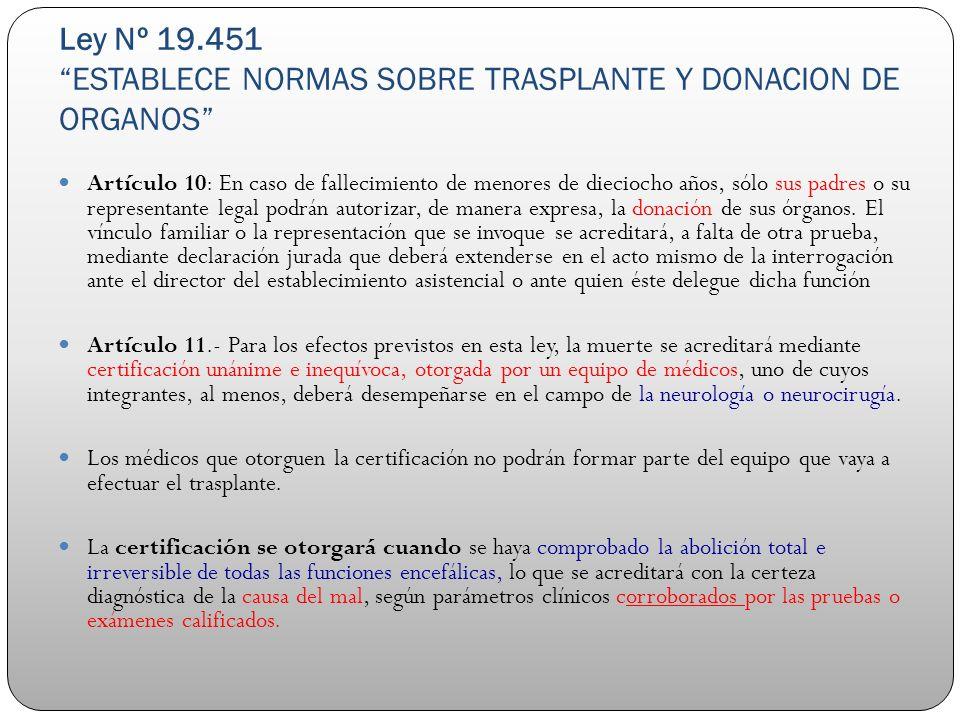 Ley Nº 19.451 ESTABLECE NORMAS SOBRE TRASPLANTE Y DONACION DE ORGANOS