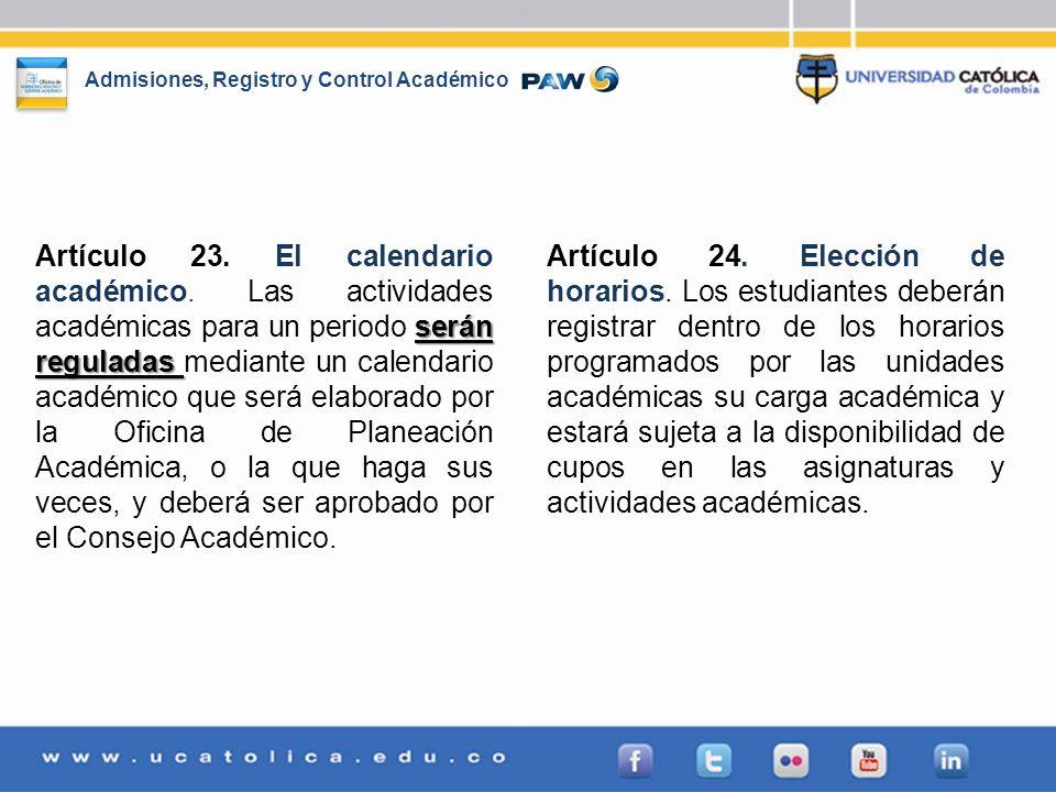 Artículo 23. El calendario académico