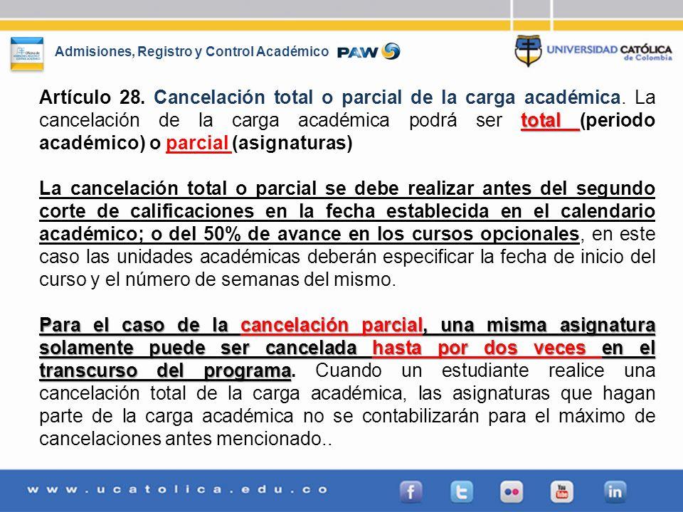 Artículo 28. Cancelación total o parcial de la carga académica