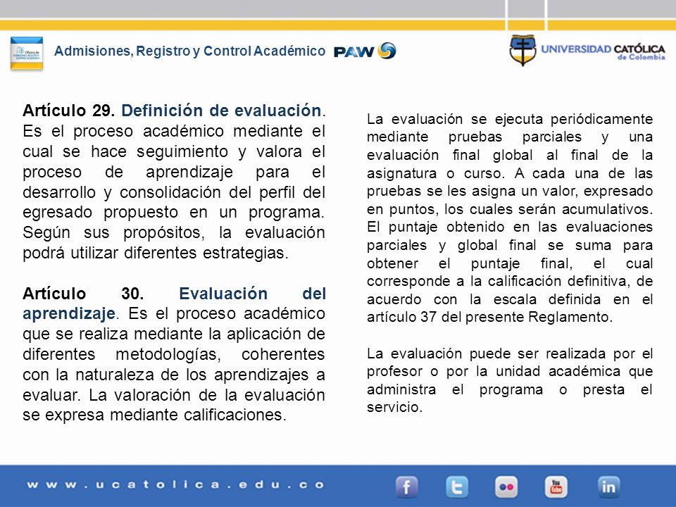 Artículo 29. Definición de evaluación