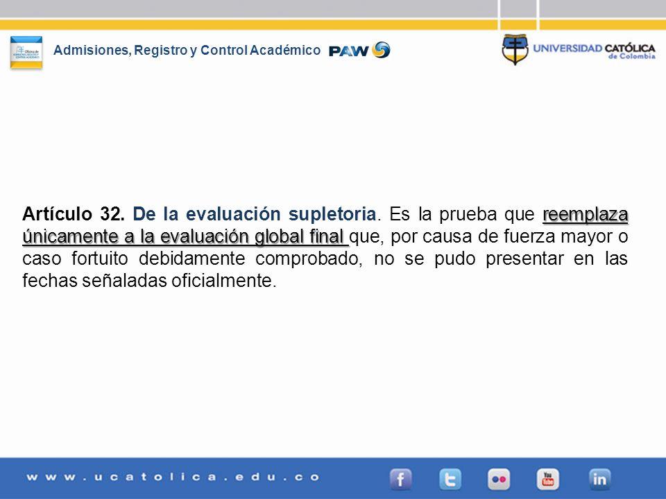 Artículo 32. De la evaluación supletoria