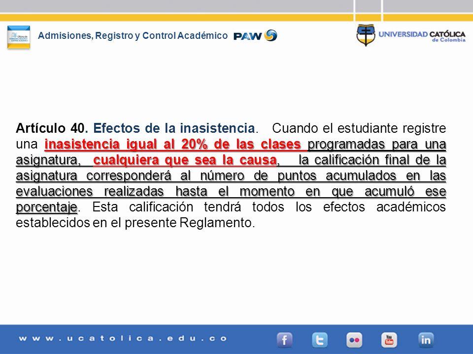 Artículo 40. Efectos de la inasistencia