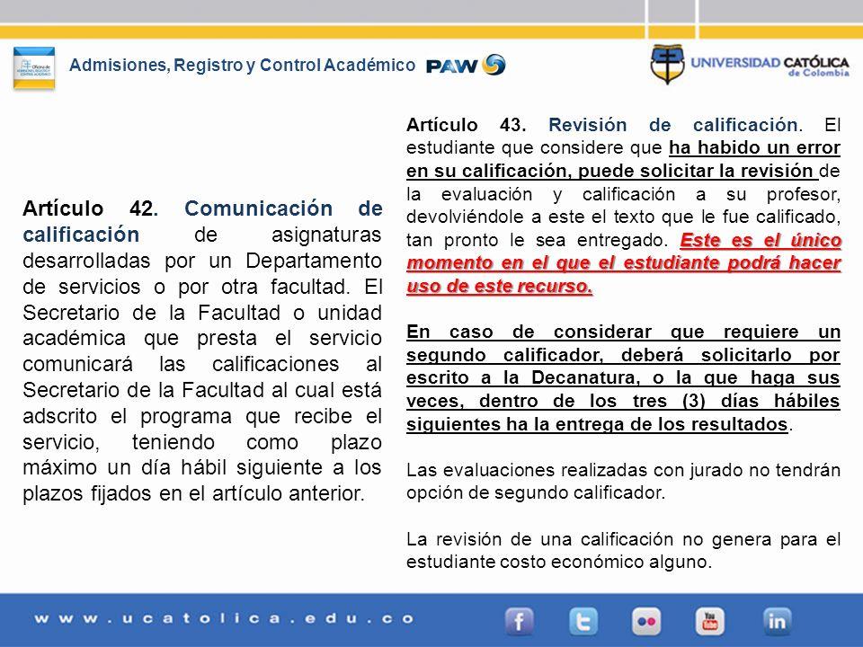 Artículo 43. Revisión de calificación