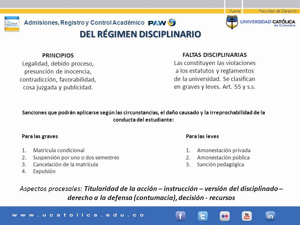 DEL RÉGIMEN DISCIPLINARIO FALTAS DISCIPLINARIAS