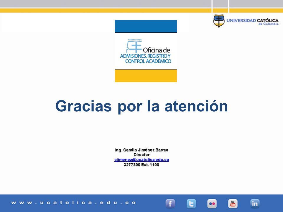 Gracias por la atención Ing. Camilo Jiménez Barrea