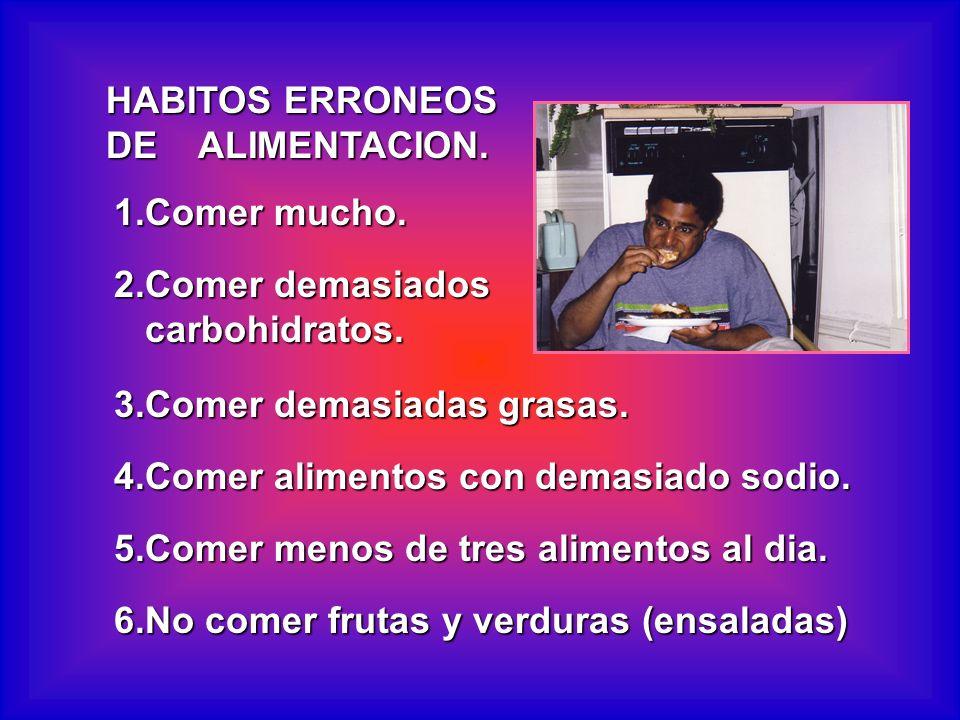 HABITOS ERRONEOS DE ALIMENTACION. 1.Comer mucho. 2.Comer demasiados. carbohidratos. 3.Comer demasiadas grasas.