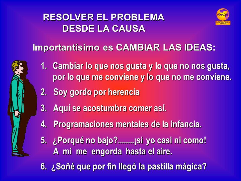 RESOLVER EL PROBLEMA DESDE LA CAUSA. Importantísimo es CAMBIAR LAS IDEAS: Cambiar lo que nos gusta y lo que no nos gusta,