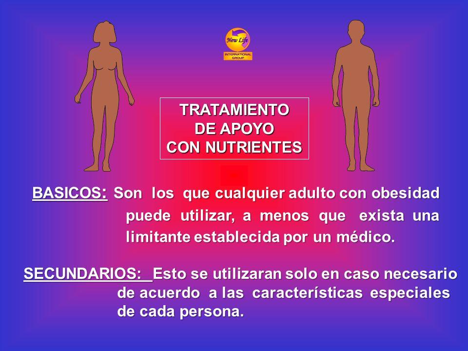 TRATAMIENTO DE APOYO. CON NUTRIENTES. BASICOS: Son los que cualquier adulto con obesidad. puede utilizar, a menos que exista una.