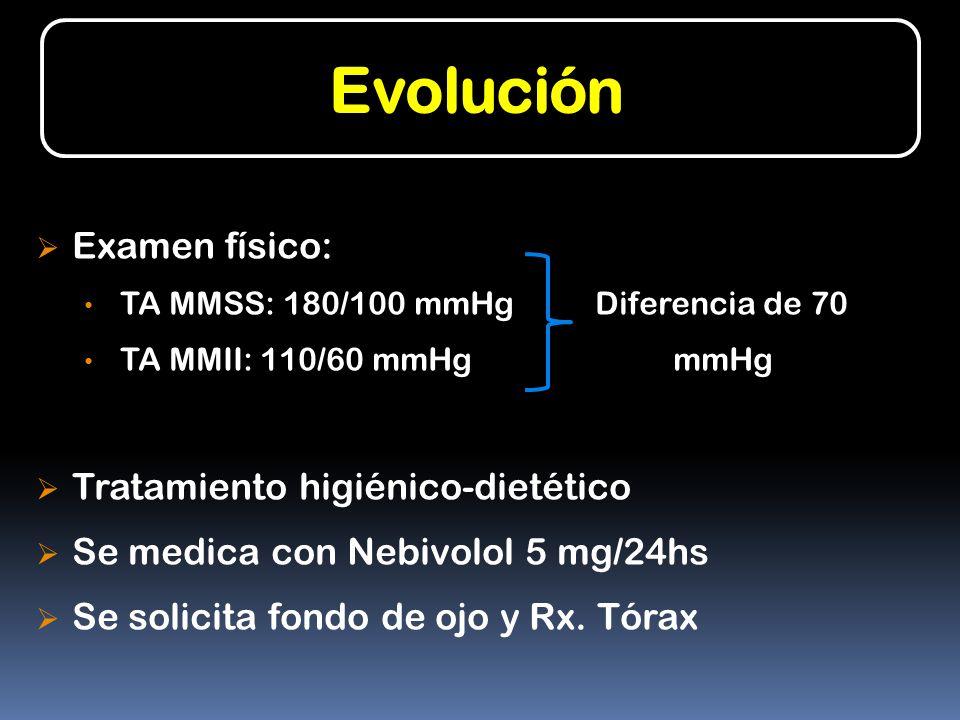 Evolución Examen físico: Tratamiento higiénico-dietético