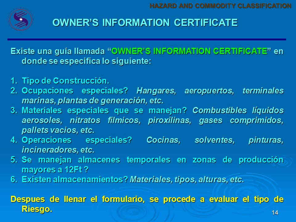 OWNER'S INFORMATION CERTIFICATE
