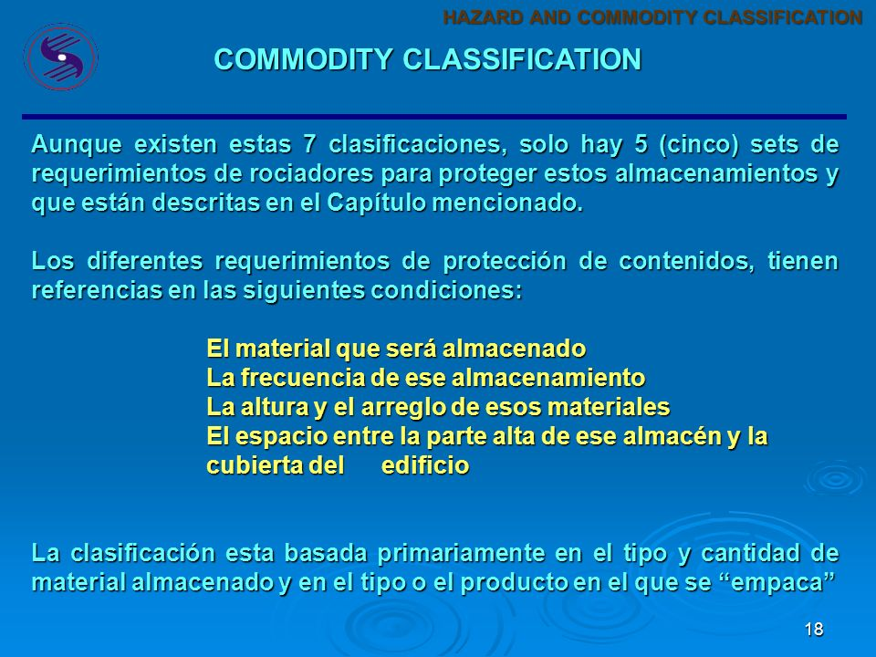 COMMODITY CLASSIFICATION