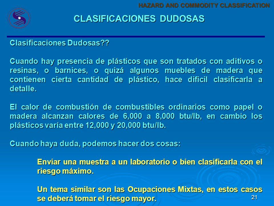 CLASIFICACIONES DUDOSAS