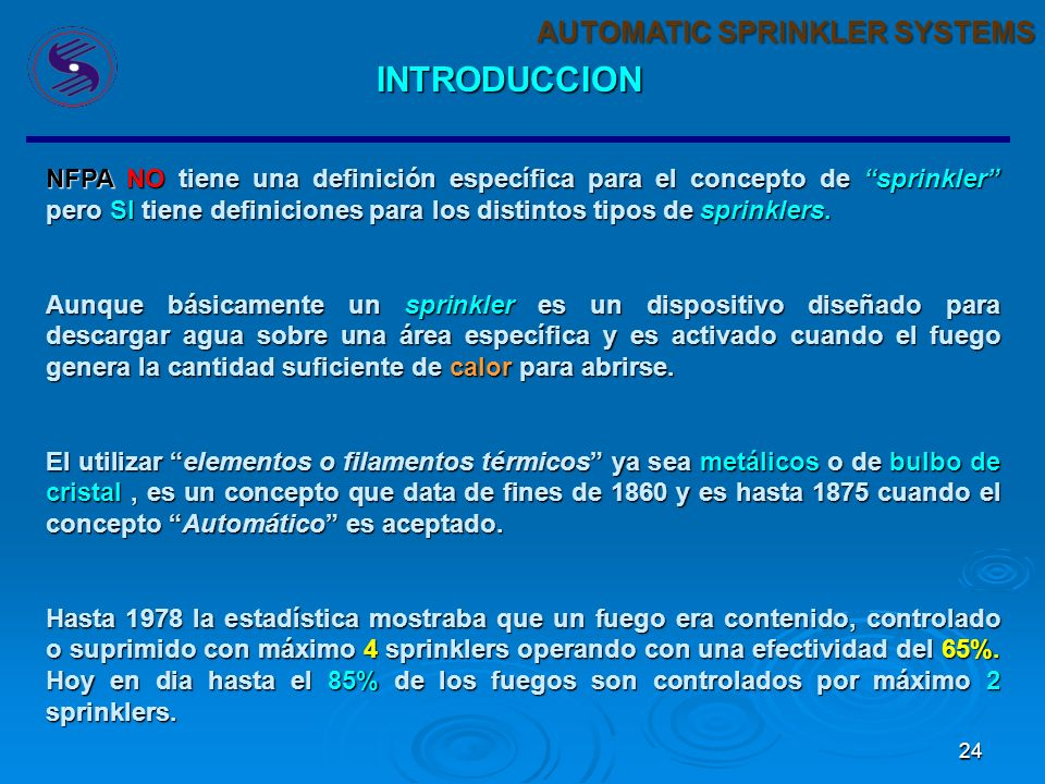 INTRODUCCION AUTOMATIC SPRINKLER SYSTEMS