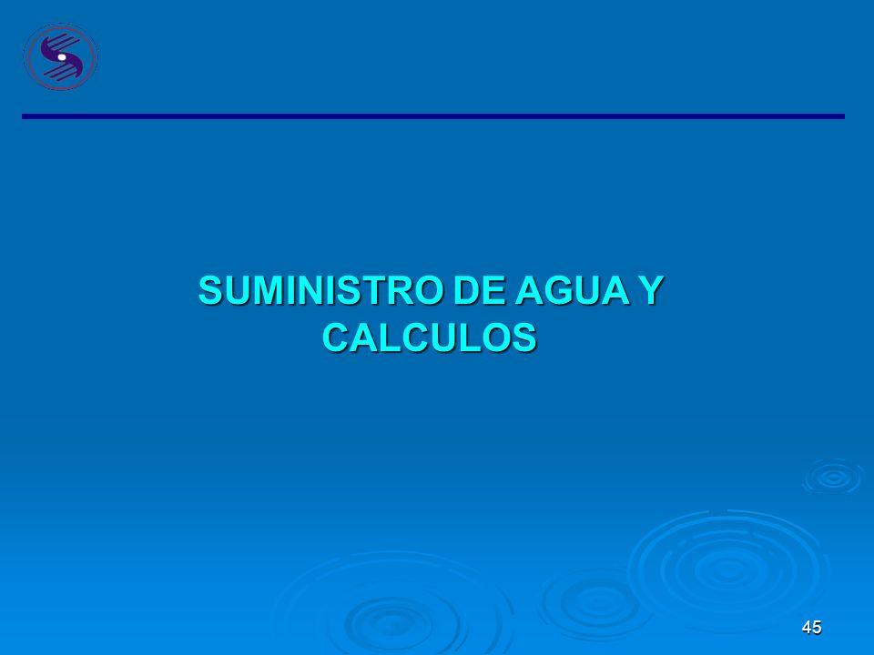 SUMINISTRO DE AGUA Y CALCULOS