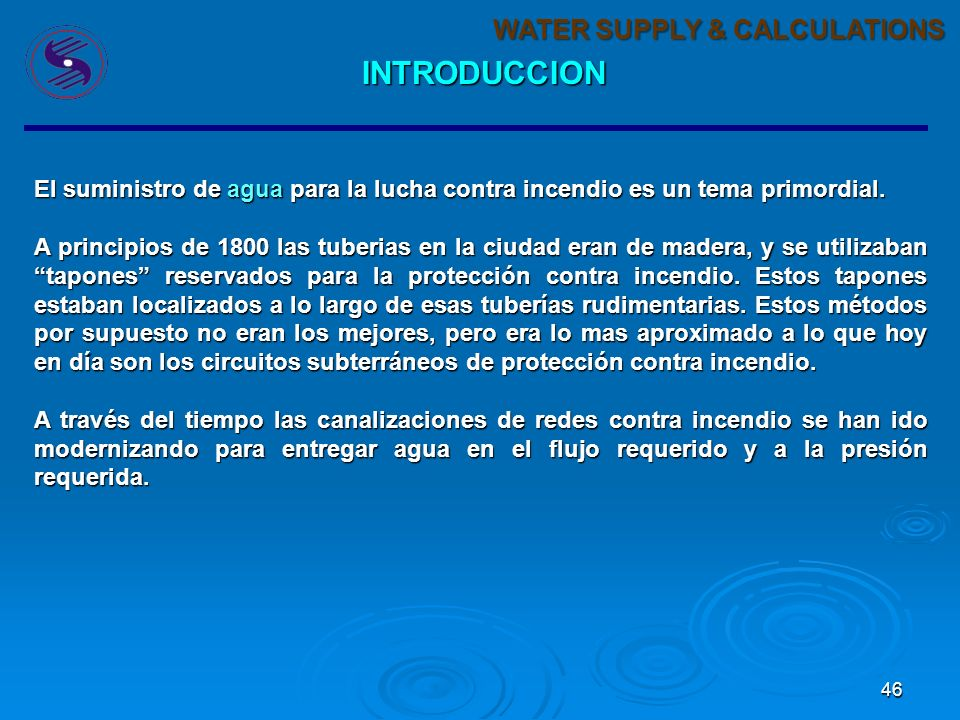 INTRODUCCION WATER SUPPLY & CALCULATIONS