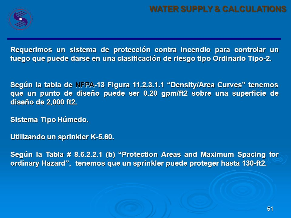 WATER SUPPLY & CALCULATIONS