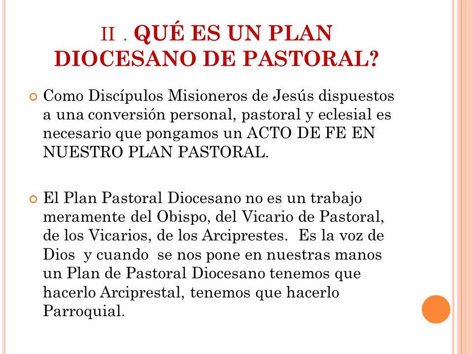 ii . QUÉ ES UN PLAN DIOCESANO DE PASTORAL