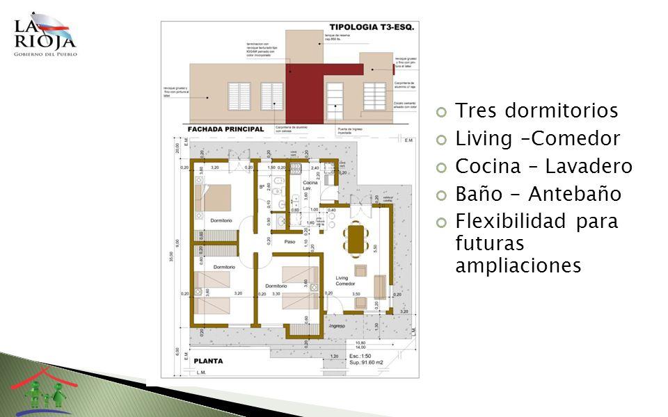 Tres dormitorios Living –Comedor. Cocina – Lavadero.