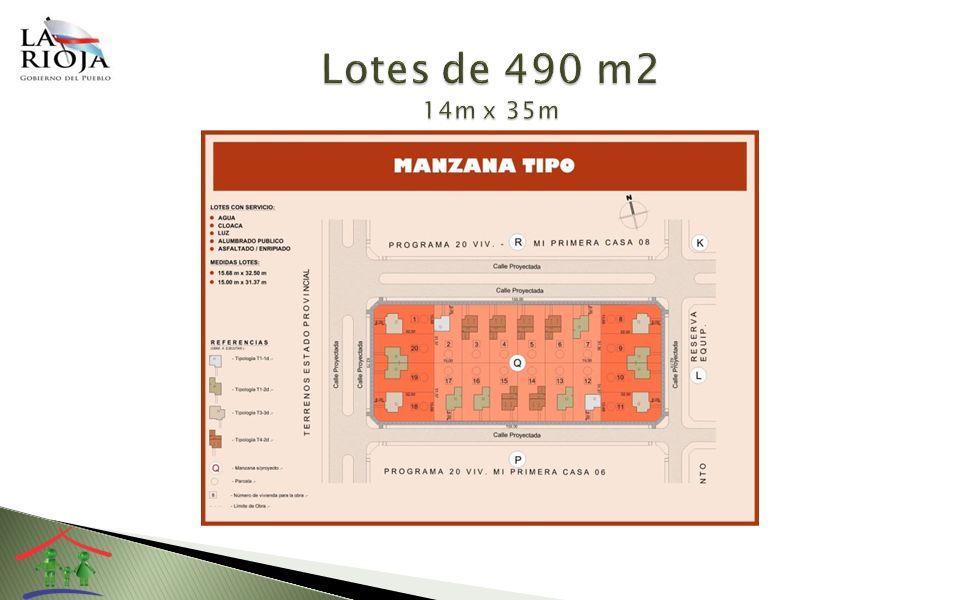 Lotes de 490 m2 14m x 35m