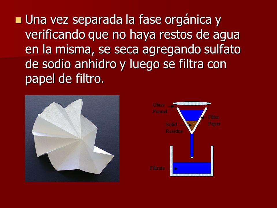Una vez separada la fase orgánica y verificando que no haya restos de agua en la misma, se seca agregando sulfato de sodio anhidro y luego se filtra con papel de filtro.